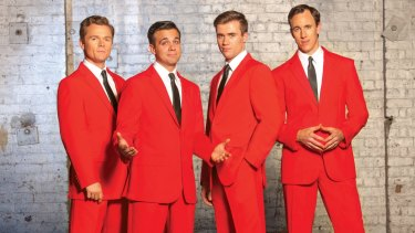 <I>Jersey Boys</I> stars (from left) Cameron MacDonald, Bernard Angel, Thomas McGuane and Glaston Toft.