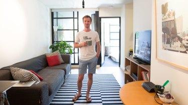 Melbourne illustrator Guy Shield in his one bedroom apartment in Melbourne.