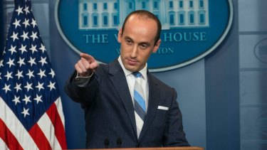 """CNN's Jake Tapper cut short his interview with Donald Trump's senior policy advisor Stephen Miller on Sunday after Miller refused the answer questions and repeatedly called Tapper """"hysterical""""."""