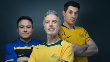 Sam Pang (left), Santo Cilauro and Ed Kavalee describe their soccer podcast as a labour of love.