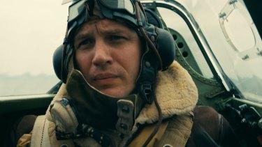 Tom Hardy as Spitfire pilot Farrier in Dunkirk.