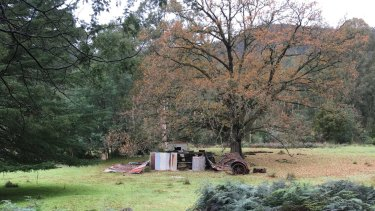 Abandoned farm on a river flat, now part of the Yarra Ranges National Park at Reefton.
