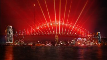 An artist's impression of how the New Year's Eve display on the Harbour Bridge will look.