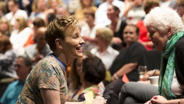 Audience participation is a central feature of Kate Mulvany's performance.