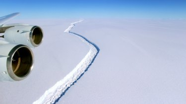 A crack in the Larsen C ice shelf as photographed November 10 2016.