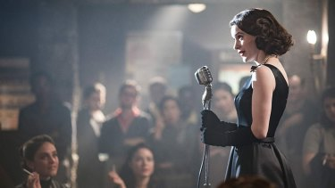 Rachel Brosnahan as Midge Maisel in <i>The Marvelous Mrs Maisel</I>.