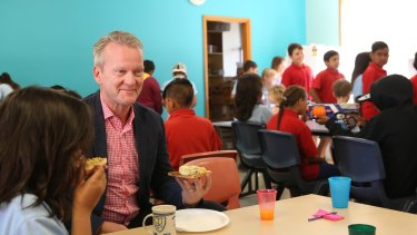 Professor Pasi Sahlberg joins the breakfast club at Walgett Primary School.
