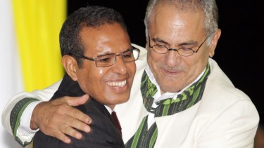 East Timorese President Taur Matan Ruak, left, embraces his predecessor, Jose Ramos-Horta, during his inauguration in Dili in 2012.
