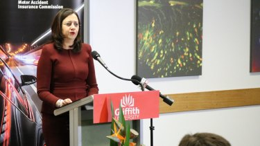 """In the maroon top was Queensland Premier Annastacia Palaszczuk, saying the state was """"robbed""""."""