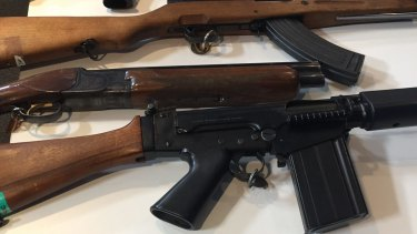Some of the guns seized by police in the past year.