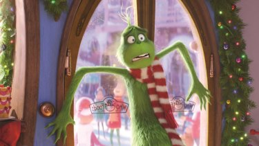 The Grinch (Benedict Cumberbatch) is confronted by the unchecked Christmas joy of Whoville.