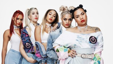 Parris Goebel (front) and her hip-hop dance squad (right to left), Kirsten Dodgen, Althea Strydom, Kyra Aoake and Kaea Pearce.