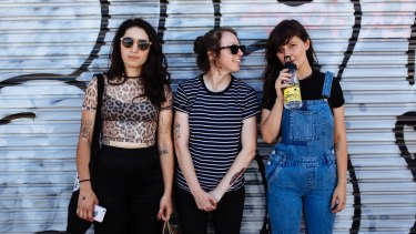 Camp Cope are too big to be silenced by entrenched festival organisers. From left, Georgia MacDonald, Sarah Thompson, Kelly-Dawn Hellmrich.