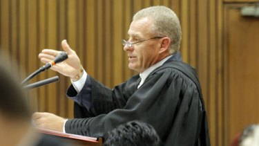 State Prosecutor Gerrie Nel argues in court on Tuesday.