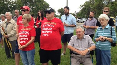 Labor supporters gather outside Eventide Nursing Home where Opposition Leader Annastacia Palaszczuk spoke on Wednesday.