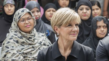 Foreign Minister Julie Bishop, pictured in New Delhi, says DFAT officials acted appropriately and professionally in the case of an Australian couple who left behind their baby boy, born through surrogacy, in India.