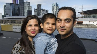 Neeti and Alok Chouraria with their son Aari, left their home in the Docklands, due to the absence of a local school.