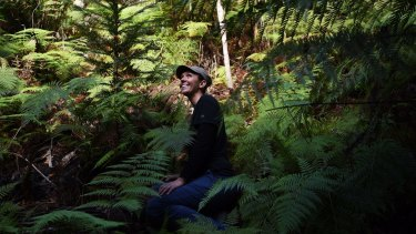 Dr Heidi Zimmer at a secret grove of replanted Wollemi pines in the Blue Mountains.