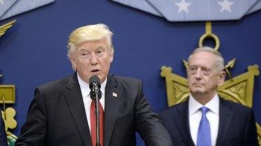 US President Donald Trump at the Pentagon with Defence Secretary James Mattis.