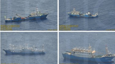 Surveillance pictures of Chinese coast guard ships and barges at the Scarborough Shoal in the South China Sea.