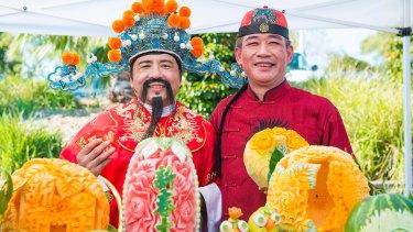 Fruit carving is part of the Sydney Hills Lunar Festival.