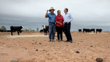 Farmers frazzled: Prime Minister Tony Abbott visits a drought-hit farm near Bourke, northern NSW, in February 2014.