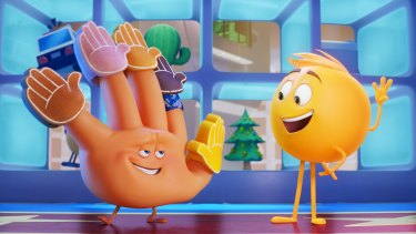 Hi-5 (James Corden) and Gene (T.J.Miller) in The Emoji Movie, which shows self-expression can occur through the unlikeliest of means.