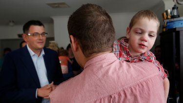 Premier Daniel Andrews visits  Cooper Wallace and his family.