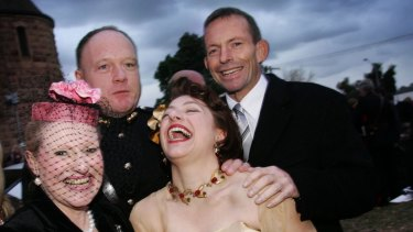 Bronwyn Bishop (left) at the wedding of Sophie and Gregory Mirabella, with Tony Abbott.