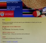 The invite to the Mexican-themed party at Sydney University.