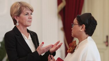 Foreign Minister Julie Bishop talks with her Indonesian counterpart Retno Marsudi on Wednesday.