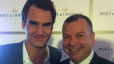 Genuine: Roger Federer and Andrew Hornery. The best thing about The Fed is that he is still same guy even when the cameras aren't on him.