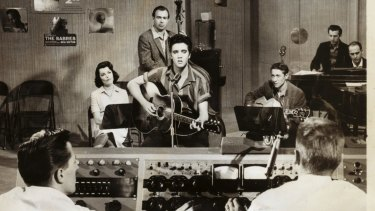 Elvis Presley playing a Maton HG100, made in Melbourne, in the movie Jailhouse Rock, 1957.