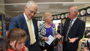 Liberal MP Ann Sudmalis with Prime Minister Malcolm Turnbull on a visit to Sanctuary Point Public School last week.