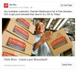 Facebook post that appears to come from Chemist Warehouse, but leads consumers into a scam.