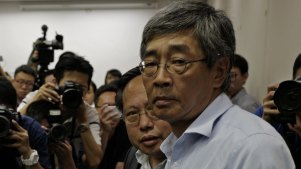 Freed Hong Kong bookseller Lam Wing-kee at a news conference in Hong Kong.