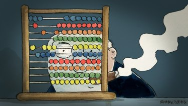 Counting the budget's consequences: There will be less money flowing into pension savings, self-managed super funds and local shares, Credit Suisse says. Illustration: John Shakespeare
