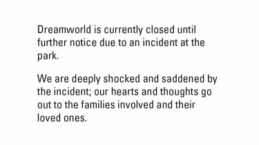 Dreamworld's website on Tuesday night.