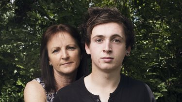 Recovered:  with his mother, Paula.