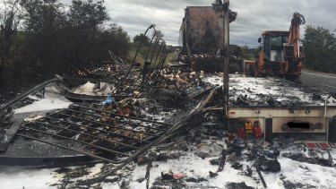 A truck was destroyed by fire on the Hume Highway south of Sutton Forest on Monday.