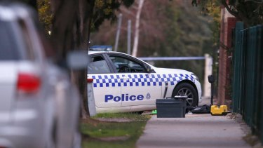 The scene in Moonee Ponds where a police officer was shot in the head last year.