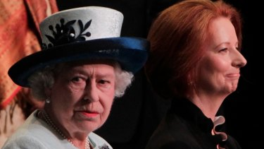 The Queen accompanied by then Australian prime minister Julia Gillard in 2011.