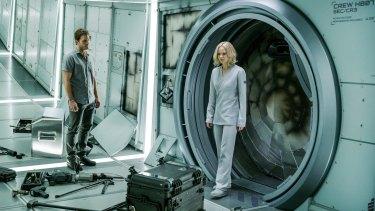 Many a dull moment: Jennifer Lawrence and Chris Pratt in <i>Passengers</i>.