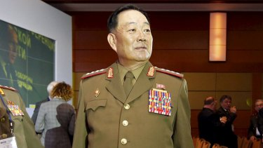 Executed: Hyon Yong-Chol, North Korea's Minister of the People's Armed Forces, at a conference in Moscow last month.