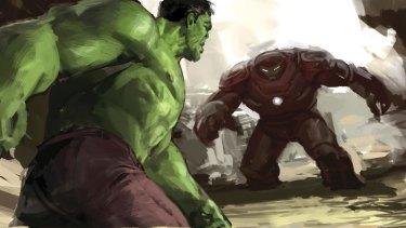 Ryan Meinerding, Hulk versus Hulkbuster no. 5 (detail); keyframes for Avengers: Age of Ultron 2015.