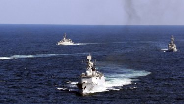 Chinese navy vessels in the South China Sea.