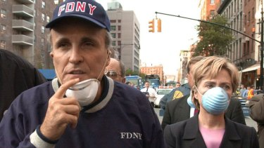 Rudy Giuliani with Hillary Clinton the day after 9/11.