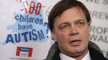 "Dr Andrew Wakefield in 2010. Britain's General Medical Council  ruled that he had acted ""dishonestly and irresponsibly"" in carrying out his research that allegedly showed a link between autism in children and the triple vaccination for measles, mumps and rubella known as MMR."
