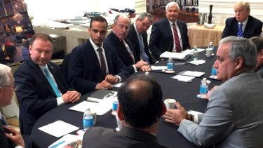 George Papadopoulos (second from left) at a national security meeting in March 2016, ten days after he met with a Russian professor in London.