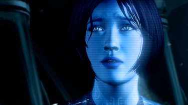 Pixelated hero: Cortana, from the game series Halo, is also the name of the new voice of Windows phones.